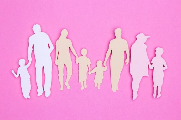 Вид сверху красивый домашний натюрморт с семьей