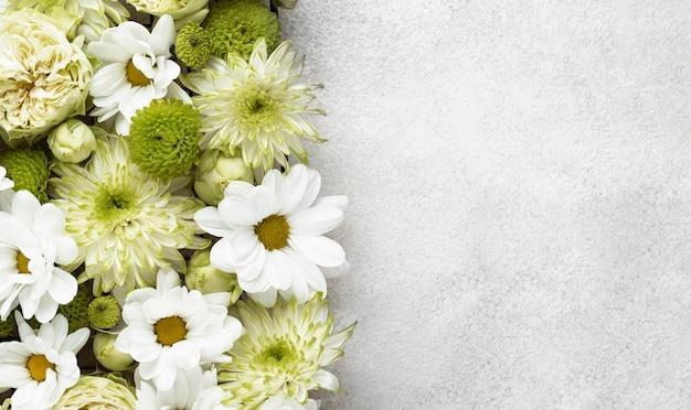 コピースペースのある美しい色の花の上面図