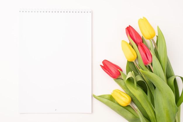 白い背景の上のカラフルなチューリップと空白のカレンダーの上面図。