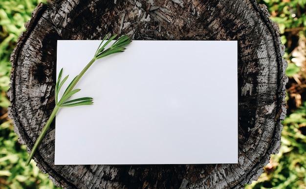 自然な木製の背景で空白のグリーティングカードの上面図