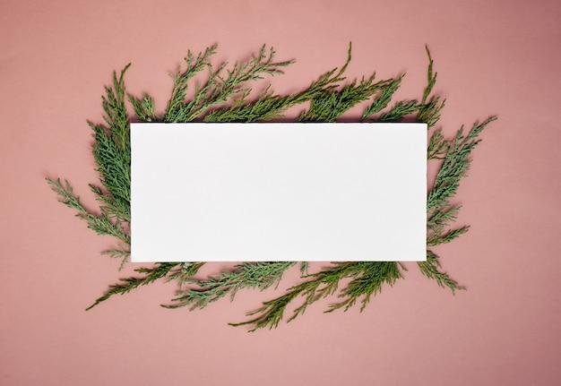 Вид сверху чистый лист бумаги на еловых ветках