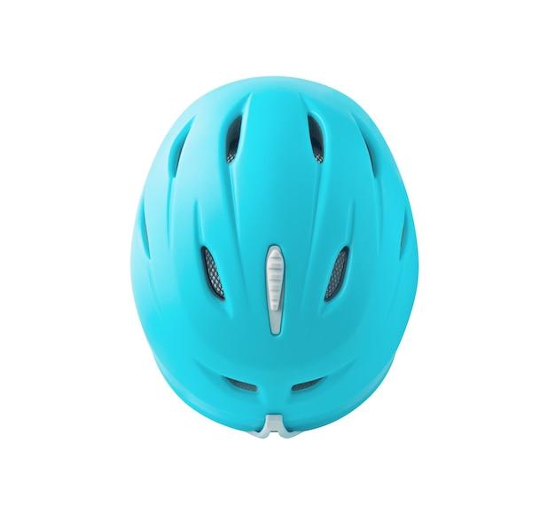 白い背景で隔離の青いヘルメットの上面図 Premium写真