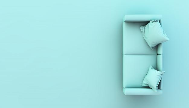 Взгляд сверху голубого перевода 3d софы