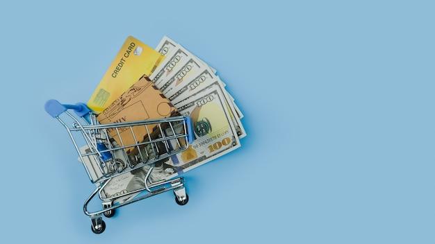 クレジットカード紙幣米ドルとボックスまたはカートンのトロリーのボックスのトップビュー