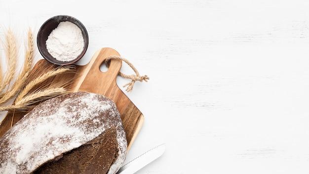 コピースペースとパンの概念のトップビュー