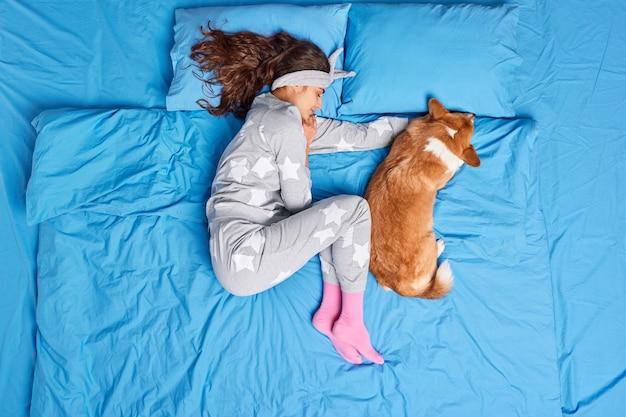 パジャマ姿のブルネットの若いヨーロッパ人女性の平面図は、お気に入りのペットと一緒に寝て、甘い夢が快適に感じ、ベッドで健康的な眠りのポーズをとっています。人々のリラクゼーション動物就寝時の概念