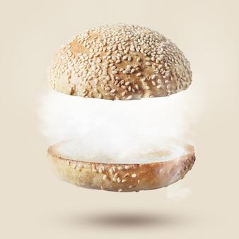 Вид сверху бургера с белыми облаками на белом фоне. гамбургер или бутерброд с облаками. бизнес-концепция.