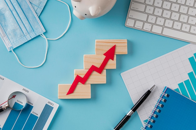 성장 차트와 저금통 비즈니스 항목의 상위 뷰