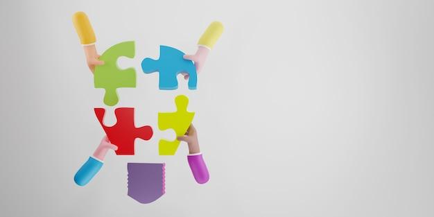 지그 소 퍼즐 전구를 들고 사업가 손의 상위 뷰. 브레인스토밍과 팀워크에 대한 개념입니다. 3d 렌더링