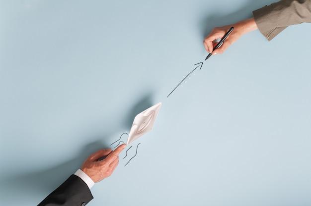 ビジネスのチームワークとパートナーシップの平面図