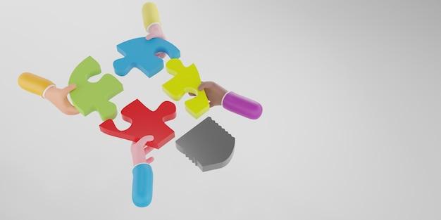 직소 퍼즐 전구를 들고 기업인 손의 상위 뷰. 브레인스토밍 및 팀워크에 대한 개념입니다. 3d 렌더링