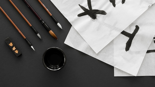 중국 잉크 개념의 상위 뷰