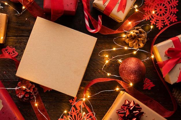 Вид сверху рождественской концепции с копией пространства
