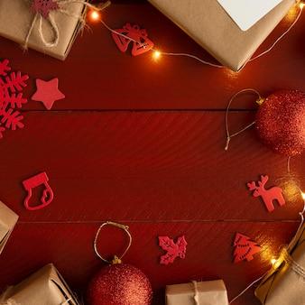 コピースペースとクリスマスコンセプトの上面図