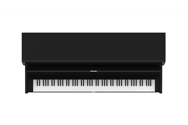 키보드 흰색 배경에 고립 된 클래식 악기 검은 피아노의 상위 뷰