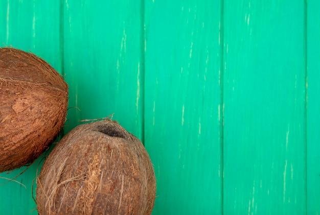 コピースペースとgreのココナッツのトップビュー