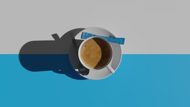 白と青で分離されたコーヒーカップの上面図