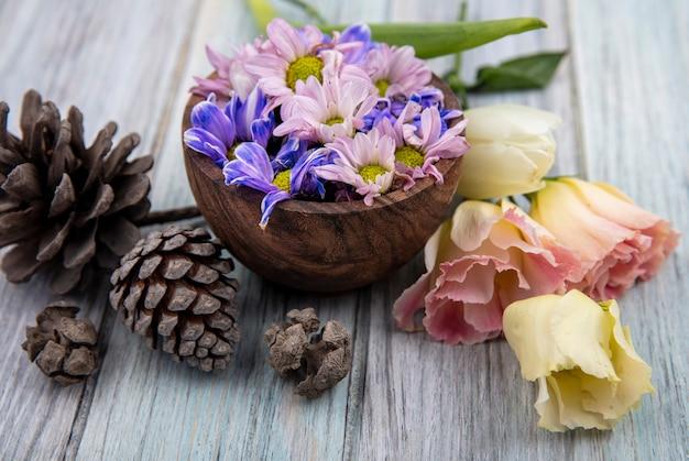 灰色の木製の背景に松ぼっくりと木製のボウルにカラフルな素晴らしいデイジーの花の上面図