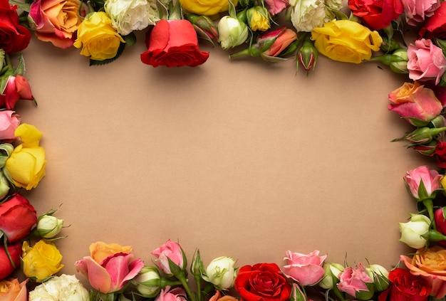 화려한 꽃 프레임의 상위 뷰