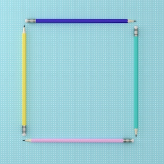 Top view of colorful Pencils around square shape on blue pastel paper background.