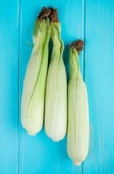Вид сверху початков кукурузы на синем 1