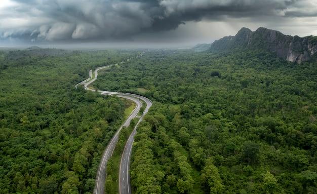 녹색 숲과 산을 통과하는 시골 도로의 최고 전망