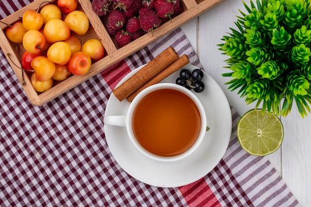 赤い市松模様のタオルの上にシナモンブラックカラントラズベリーとホワイトチェリーとお茶のトップビュー