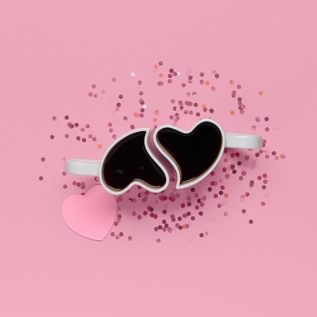 紙吹雪と紙のハートとピンクの背景にハートの形のコーヒーとカップの上面図。バレンタインデーのフラットレイテンプレート