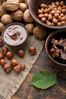 おいしいヘーゼルナッツチョコレートの上面図