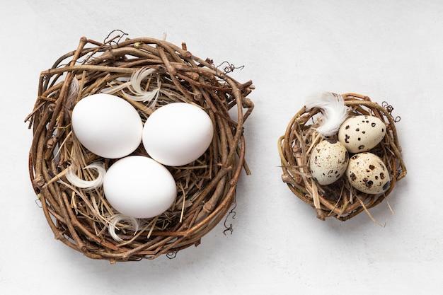 Вид сверху пасхальных яиц в птичьих гнездах и перьях