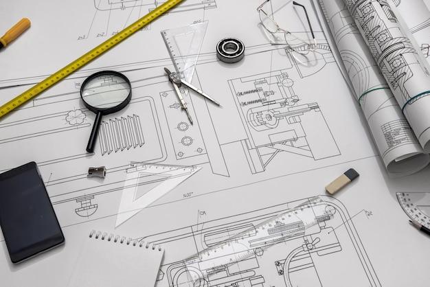 청사진, 엔지니어링 도구가있는 엔지니어링 프로젝트의 상위 뷰