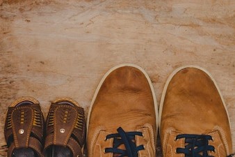 Top view of father's day composition with shoes