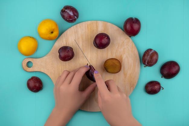 まな板の上にナイフでプルートを切る女性の手の平面図と青の背景にネクタコットとプルートのパターン