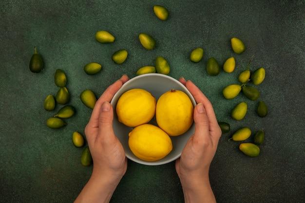 緑の背景に分離されたキンカンと新鮮なレモンのボウルを保持している女性の手の上面図