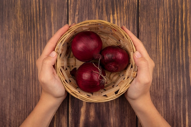 나무 벽에 건강한 붉은 양파 그릇을 들고 여성 손의 상위 뷰