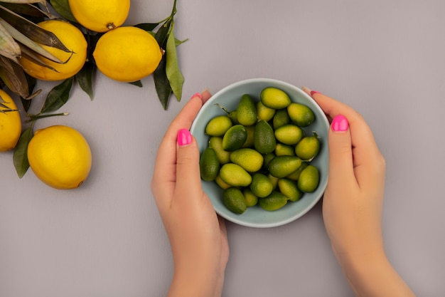 白い背景で隔離のレモンとkinkansのボウルを保持している女性の手の上面図
