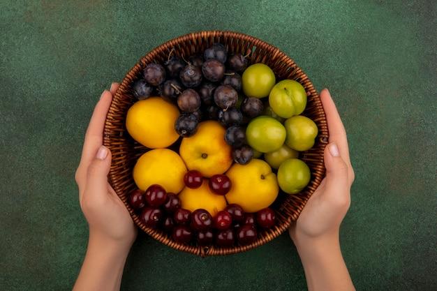 緑の背景に黄色の桃、赤いサクランボ、黄色いチェリープラムなどの新鮮な果物のバケツを保持している女性の手の上から見る