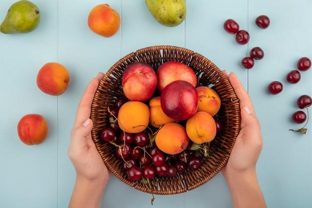 青の背景にアプリコットとチェリーの梨と桃として果物のバスケットを保持している女性の手の上から見る