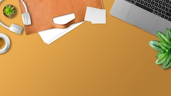 Top view of flat lay of workspace and empty space with laptop paper documents