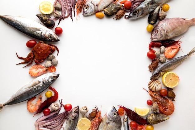 Вид сверху рамы с ассортиментом морепродуктов