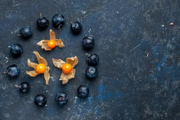 暗い机の上に円で並んでいる新鮮なブラックソーンの上面図、新鮮なフルーツベリー食品ビタミン