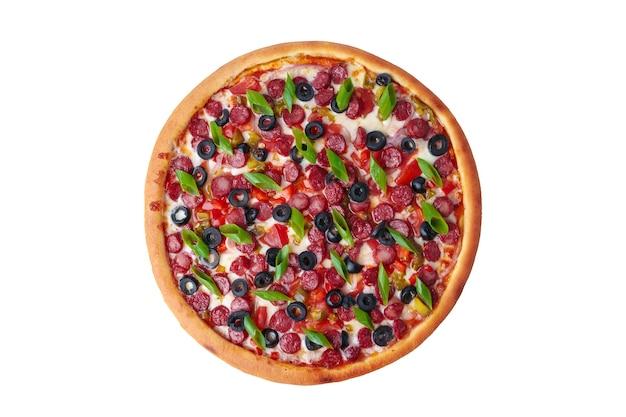 白で隔離の新鮮なピザの上面図