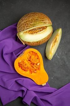 新鮮な熟したカボチャスライスフルーツの上面図