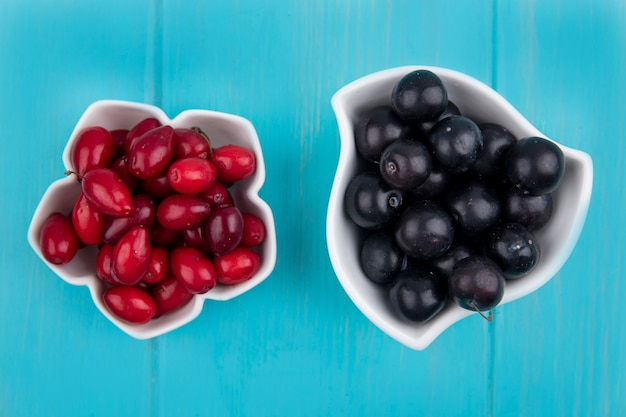 Вид сверху на фрукты в виде ягод кизила и терна в мисках на синем фоне