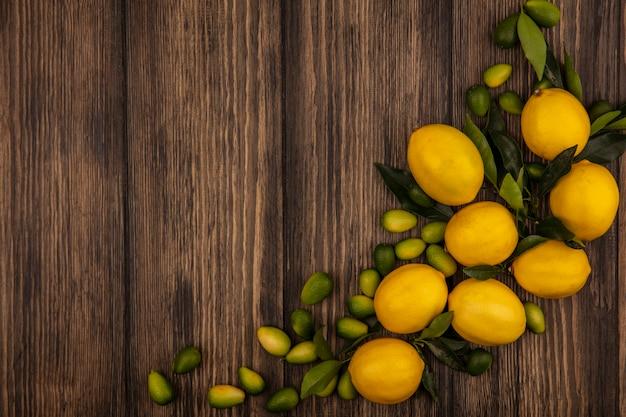 복사 공간이 나무 표면에 고립 된 레몬과 kinkans와 같은 과일의 상위 뷰