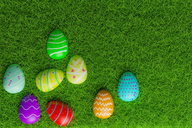 芝生のフィールド、3dレンダリングのフルカラーイースター卵の上面図