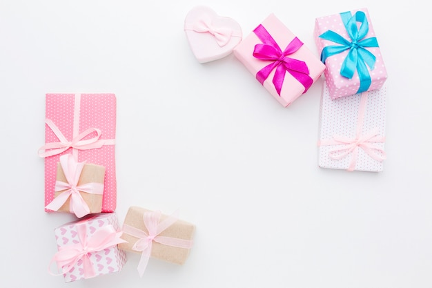 Вид сверху концепции рамки подарочные коробки