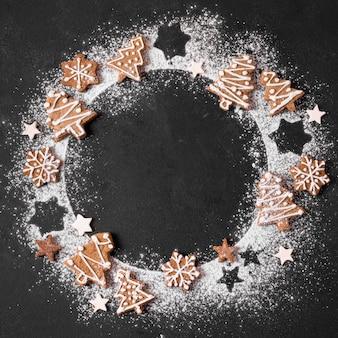 小麦粉とジンジャーブレッドの花輪の上面図