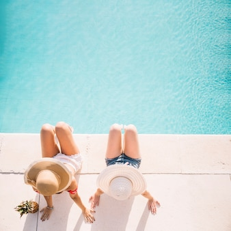 Top view of girls in front of pool