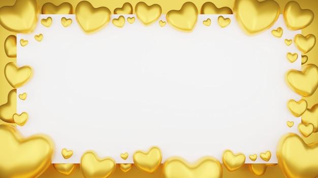 白い背景の上のフレームとゴールドハートの上面図。バレンタインデーのコンセプト。 3dレンダリングのイラスト。